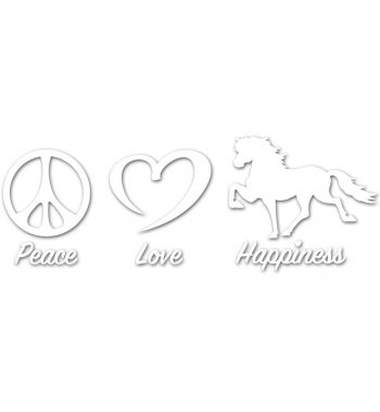 Peace Love Happiness klistermærke hvid