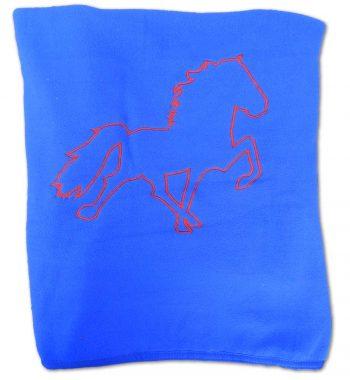 Stort fleecetæppe med broderet hest